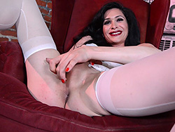 Red chair Elegant Penny pleasure herself. Penny Tyler.